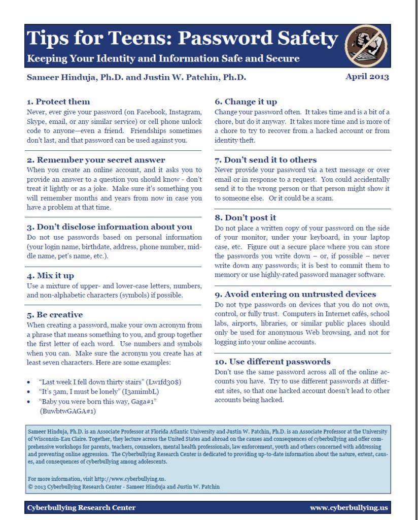 Password Safety: Top Ten Tips for Teens
