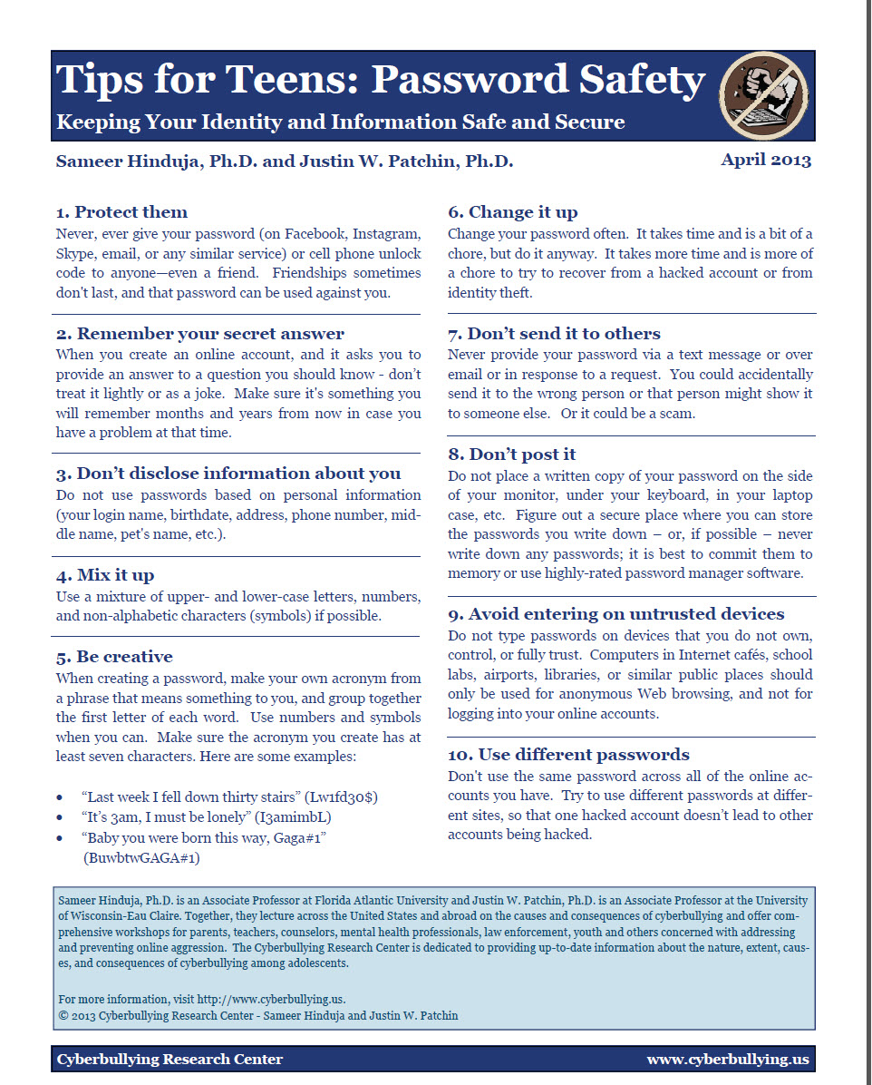 Cell Phone Safety: Top Ten Tips for Teens Cyberbullying Research Center image 1