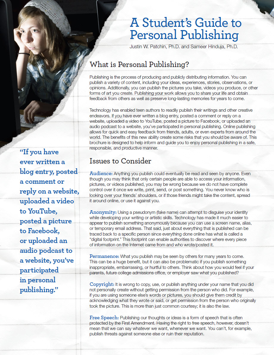 A Student's Guide to Personal Publishing Cyberbullying Research Center image 1