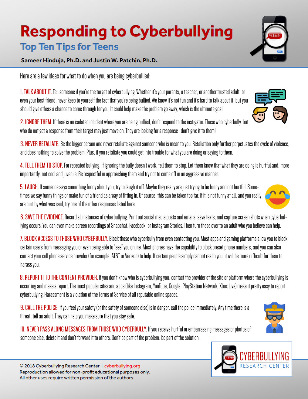 Responding to Cyberbullying: Top Ten Tips for Teens