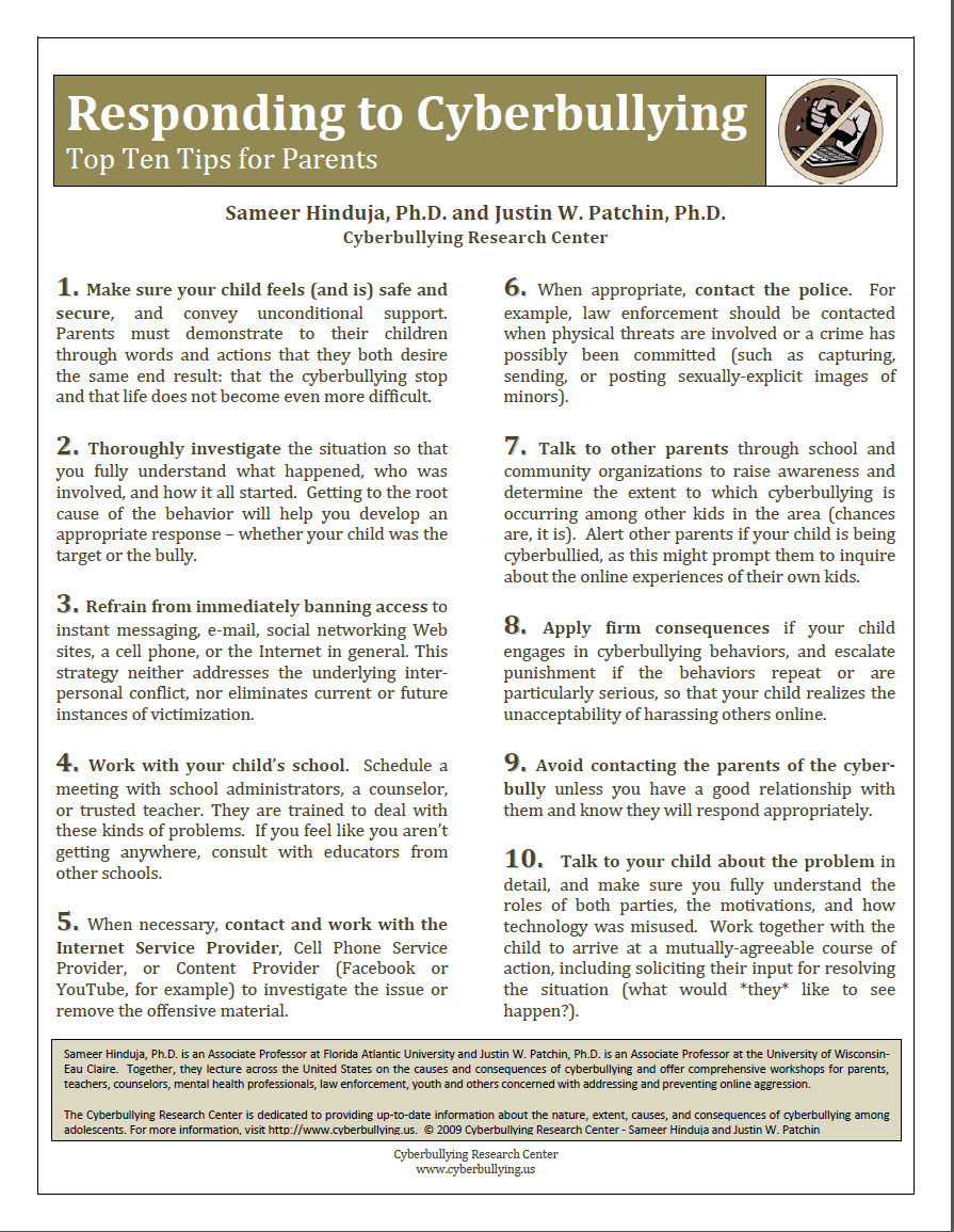 Responding to Cyberbullying: Top Ten Tips for Parents Cyberbullying Research Center