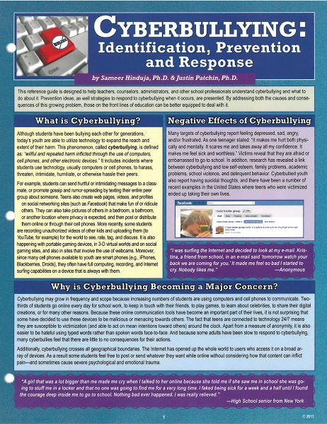 Cyberbullying: Identification, Prevention, and Response Cyberbullying Research Center