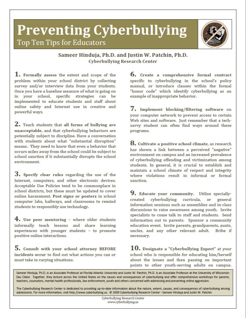Preventing Cyberbullying: Top Ten Tips for Educators