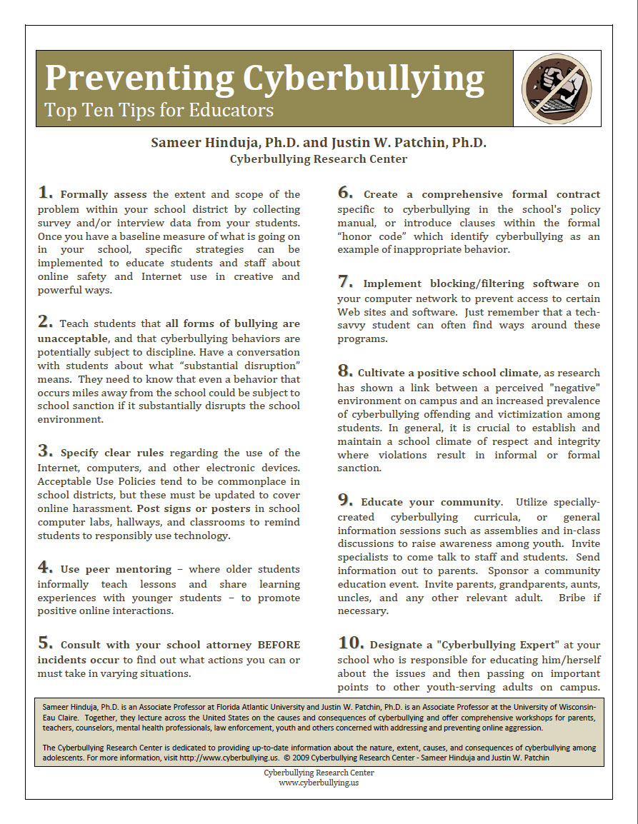 Preventing Cyberbullying: Top Ten Tips for Educators Cyberbullying Research Center