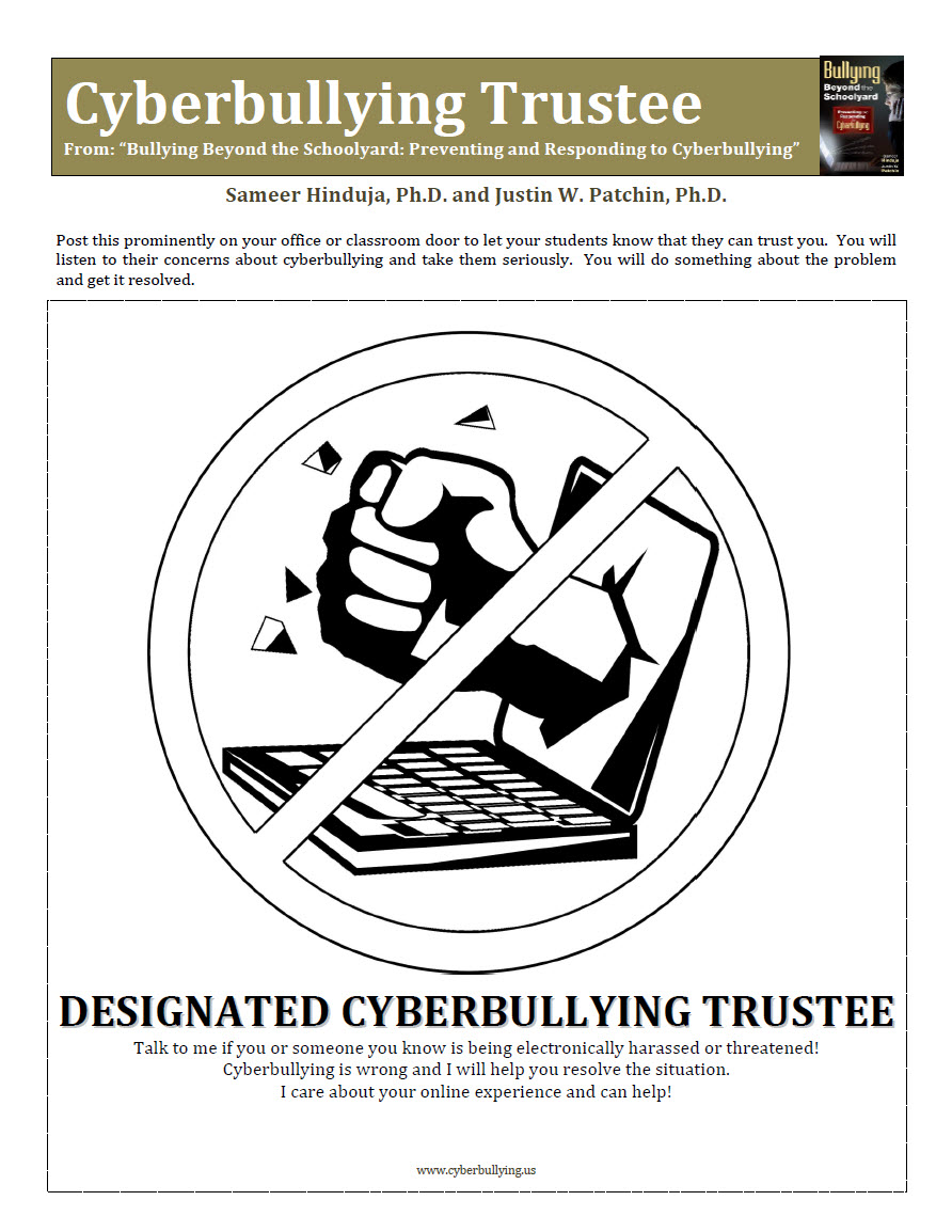 Cyberbullying Trustee Poster Cyberbullying Research Center