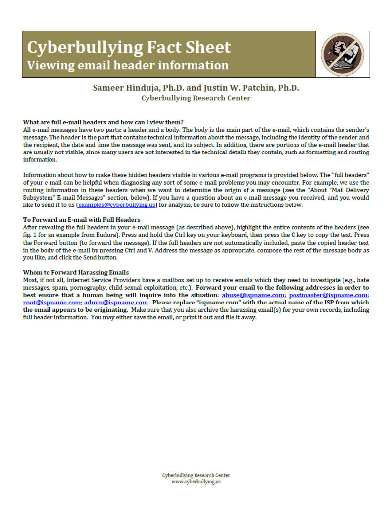 Cyberbullying Fact Sheet: Viewing Email Header Information