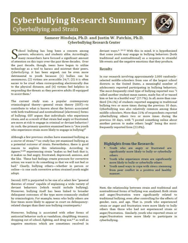 information on cyber bullying for a research paper Print print document pdf in recent years, psychologists, sociologists, and school administrators have all published a plethora of research about school bullying in recent years, technology-savvy adolescents have begun to use the internet to conduct 'cyber-bullying' on websites, in chat-rooms, and via e-mail, and to.