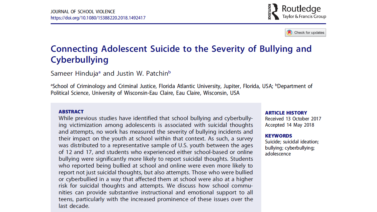 journal of school violence bullying cyberbullying suicide